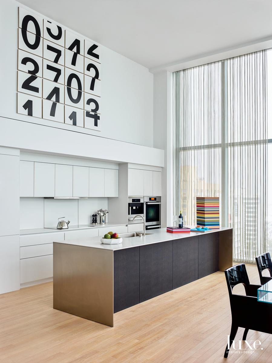 modern kitchen stainless-steel island