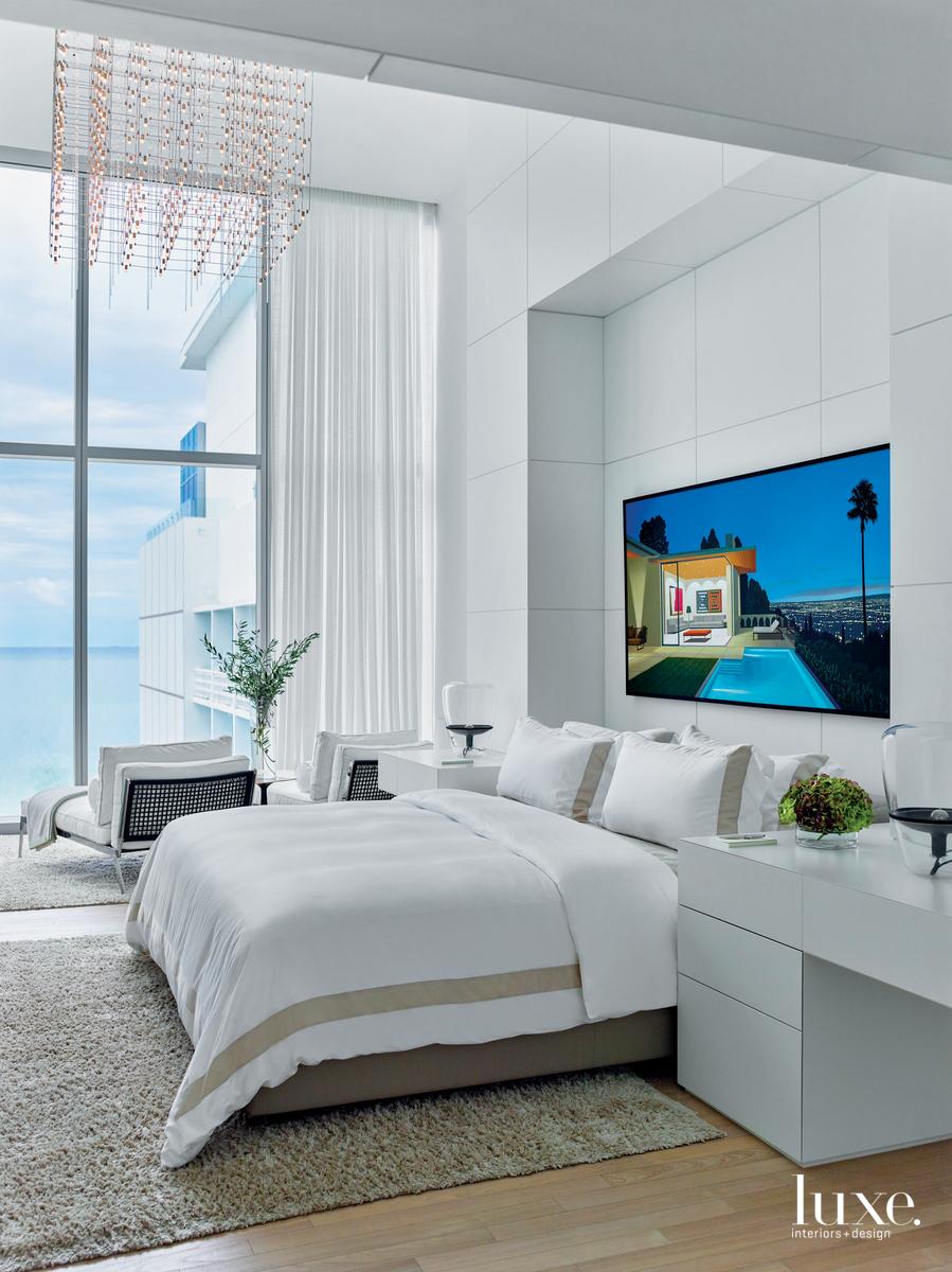 modern white bedroom glass windows