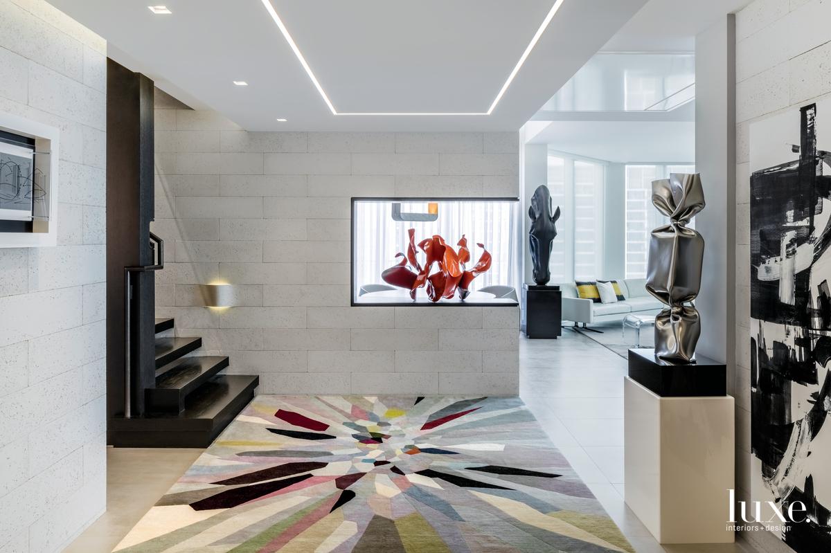 contemporary foyer multi-color rug white...