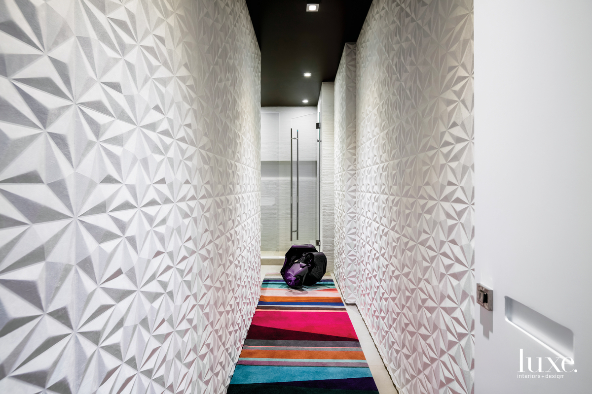 contemporary hallway colorful rug faceted...