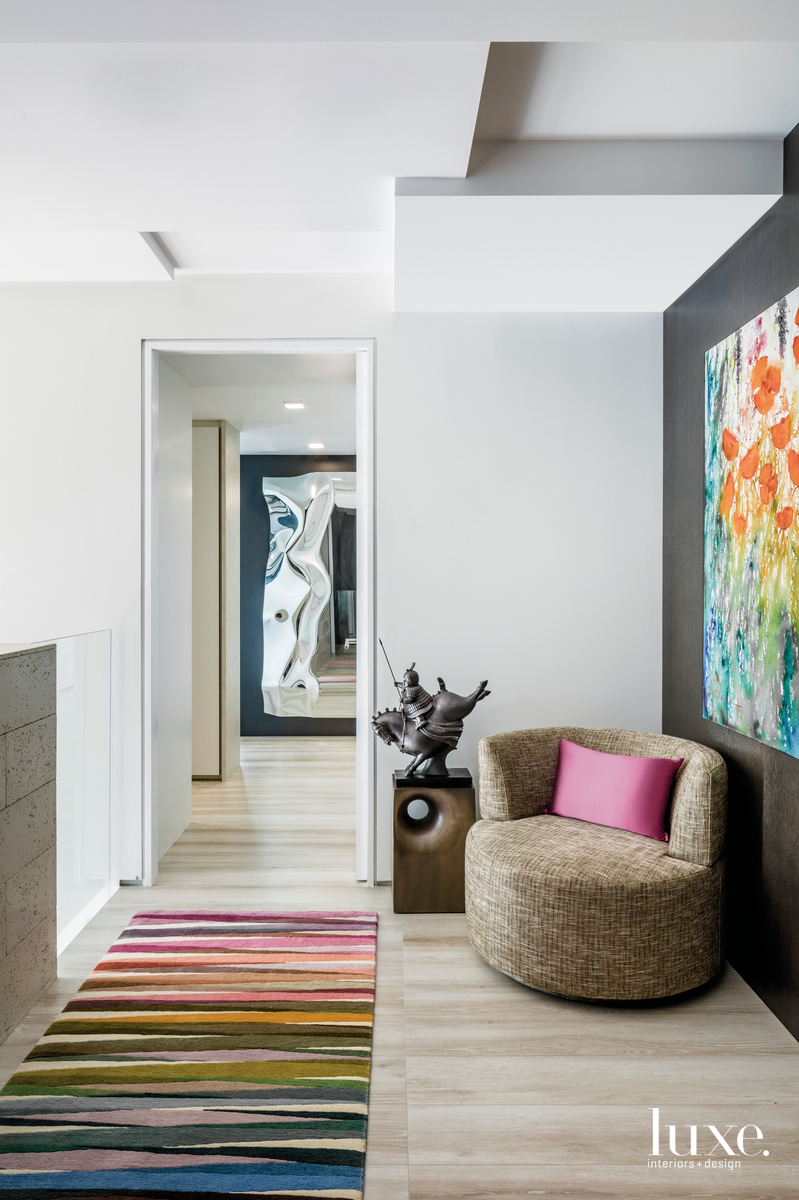 contemporary hallway colorful rug chair...