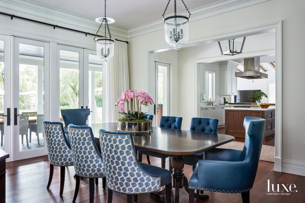 transitional dining room blue chairs