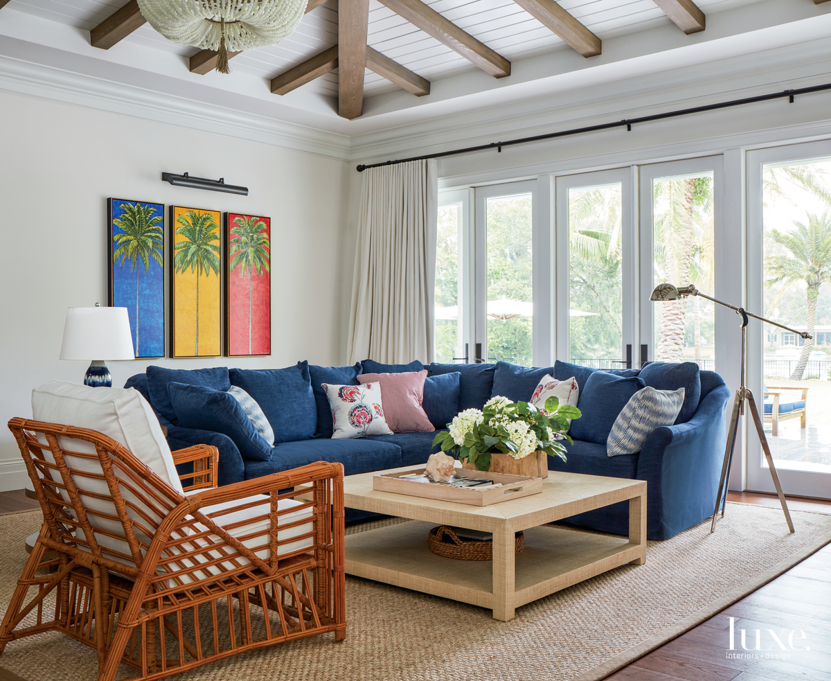 transitional family room blue sofa