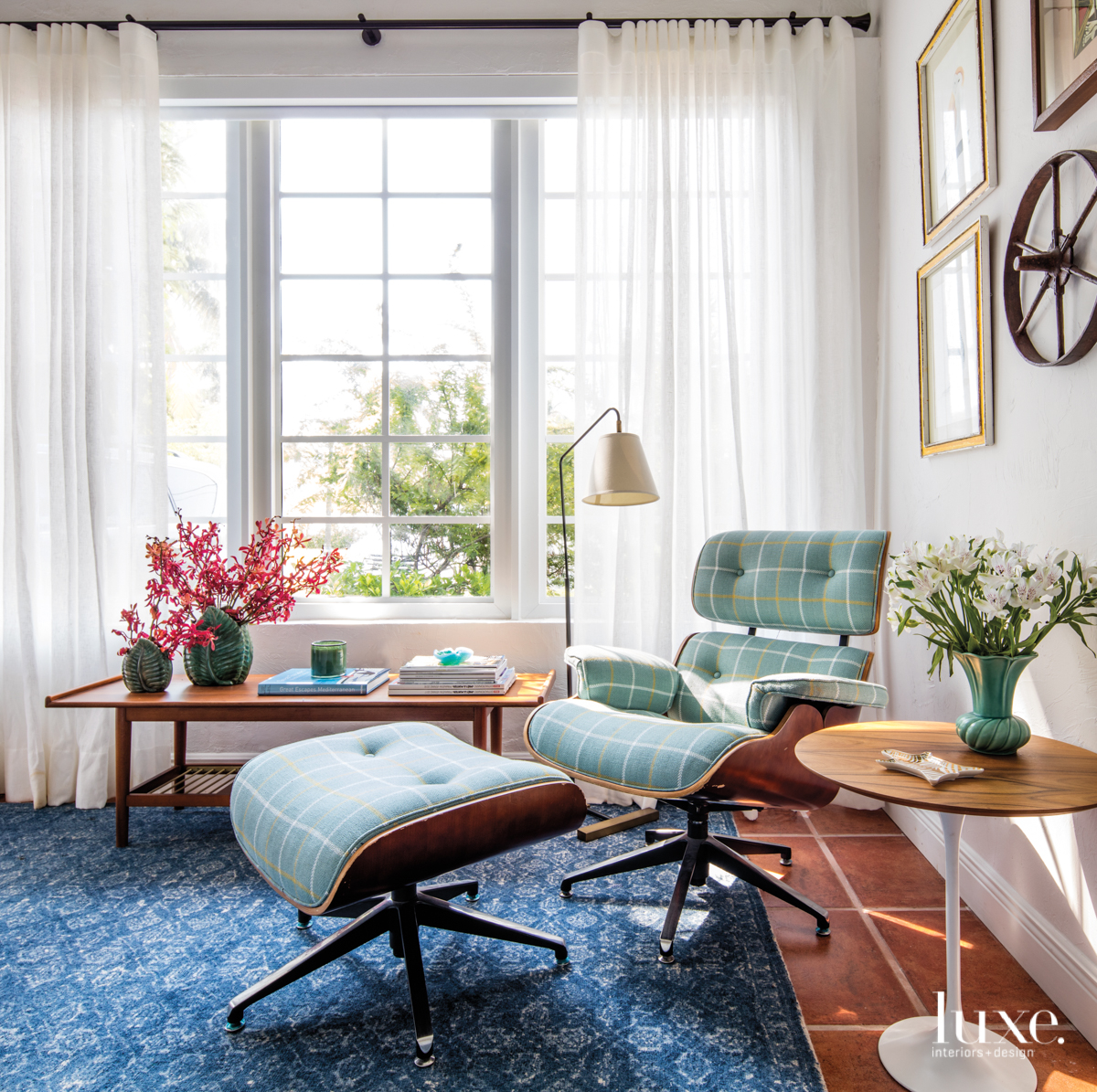 eclectic study sitting area blue