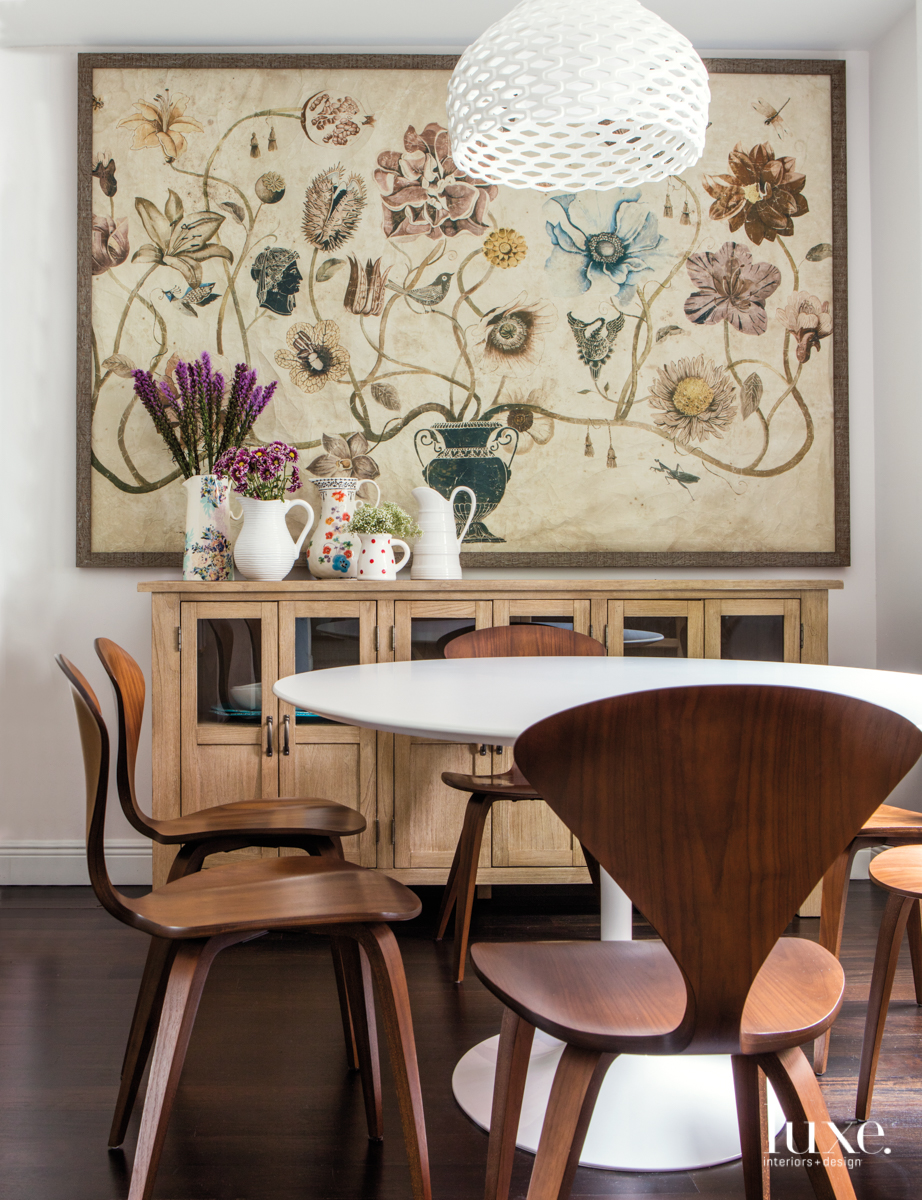eclectic dining room neutral palette