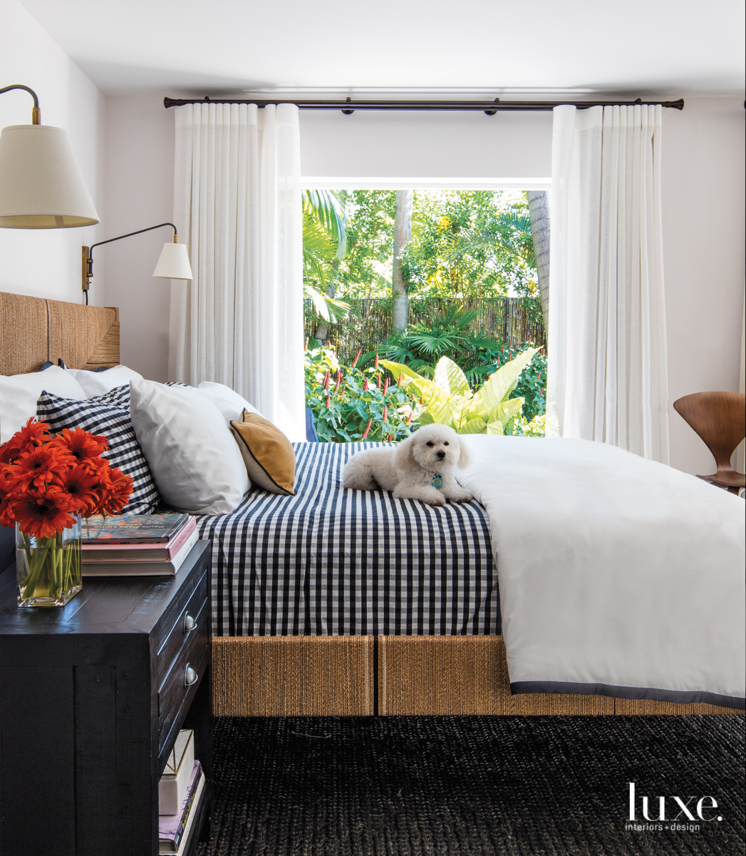 eclectic white bedroom black checkered...