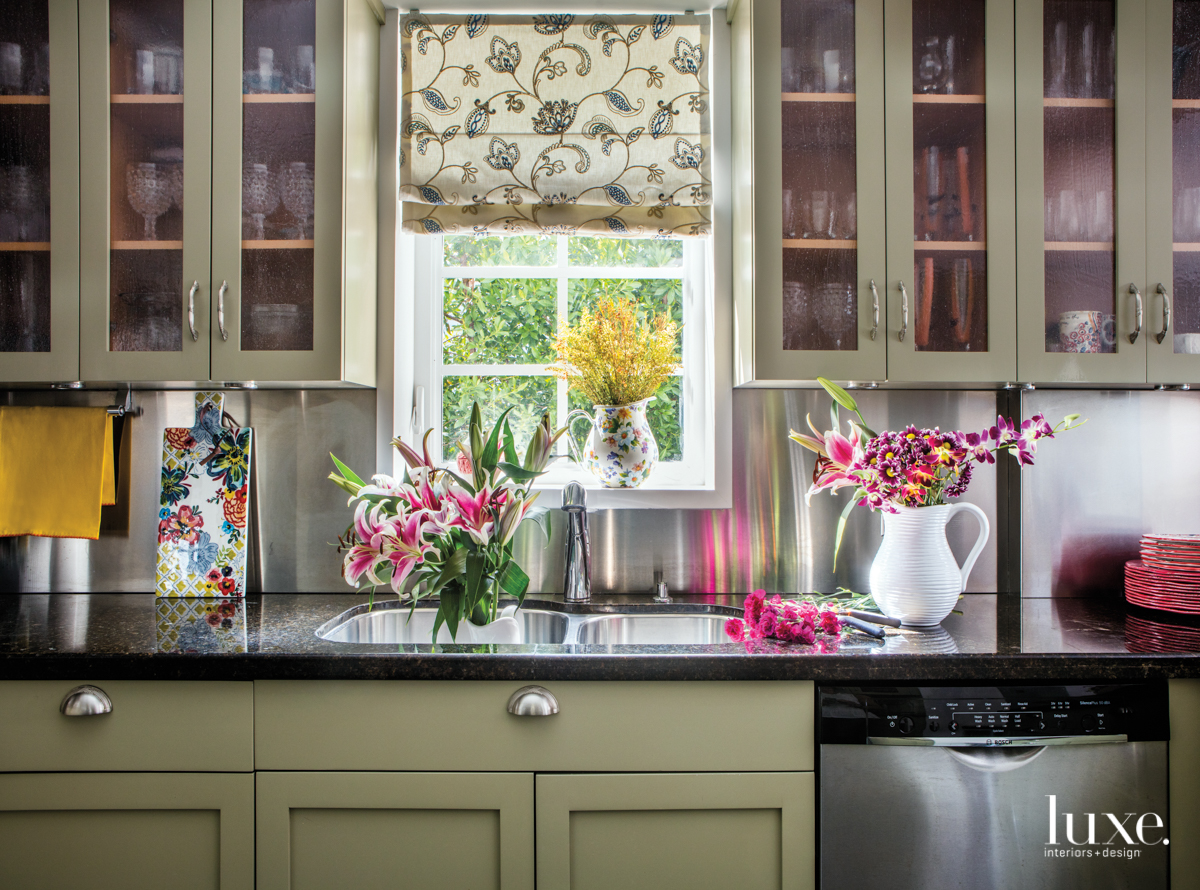 eclectic kitchen neutral palette pink...