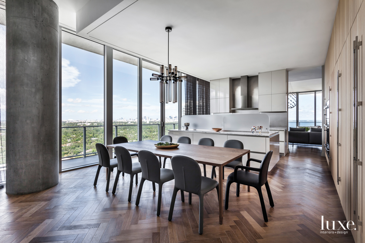 contemporary dining room and kitchen...