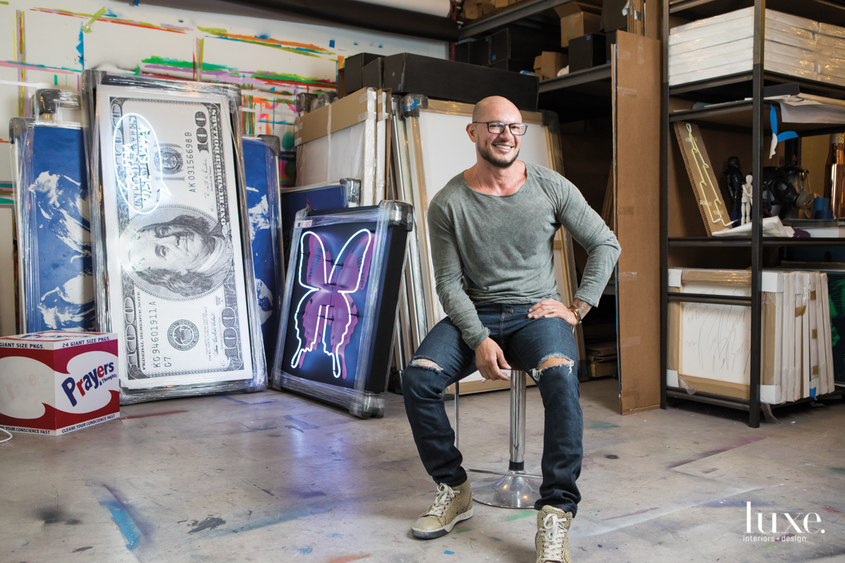 In his Miami Beach studio, artist Rubem Robierb creates colorful pieces that offer pointed social commentary.