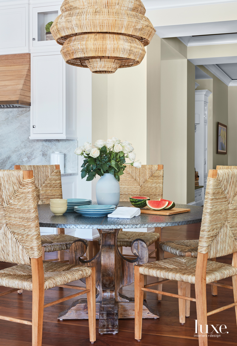 transitional neutral dining area
