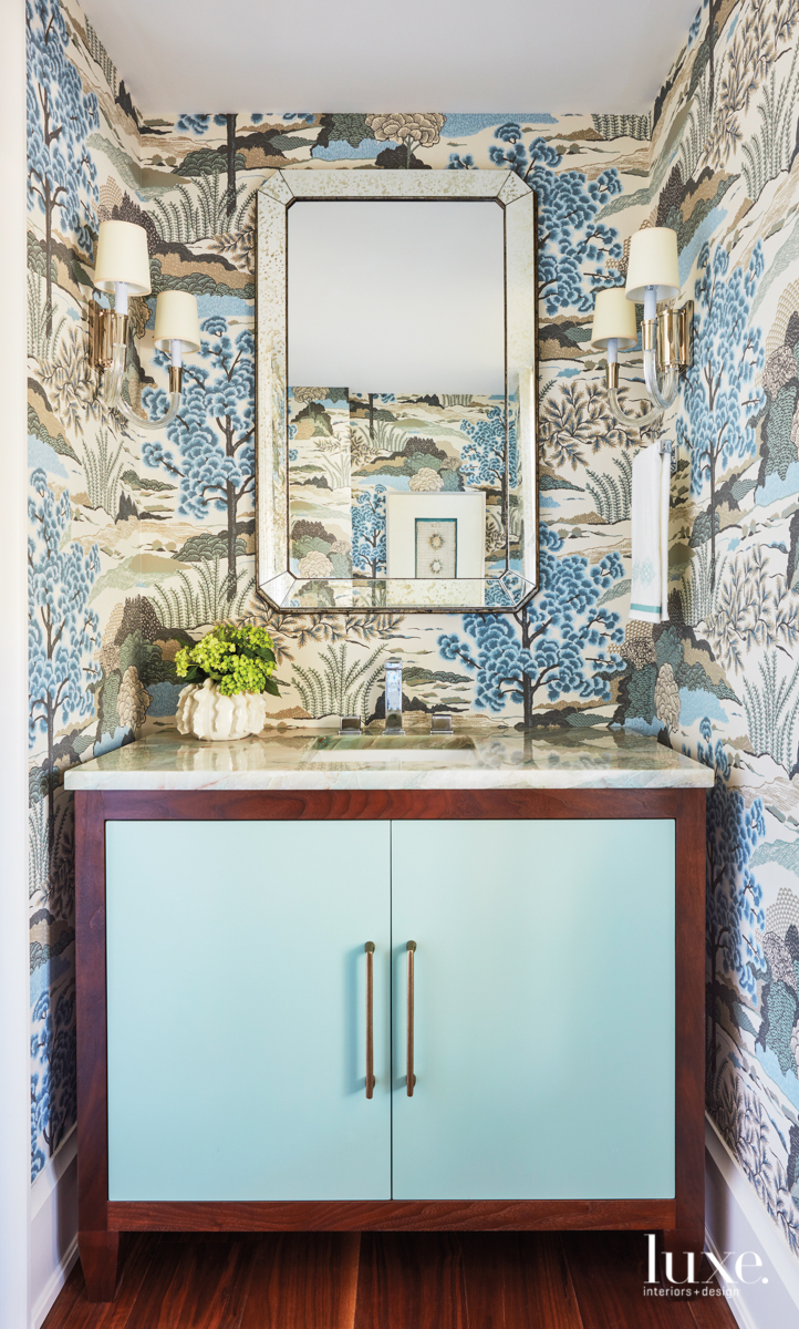 transitional blue bathroom blue cabinetry