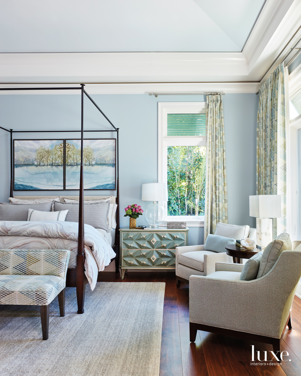 transitional blue bedroom neutral palette
