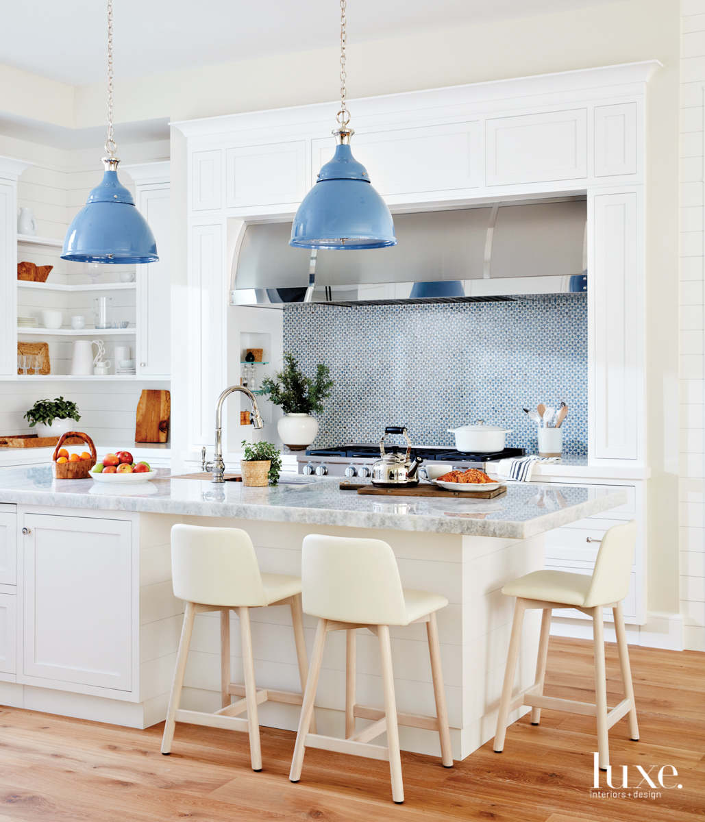 coastal white kitchen blue accents