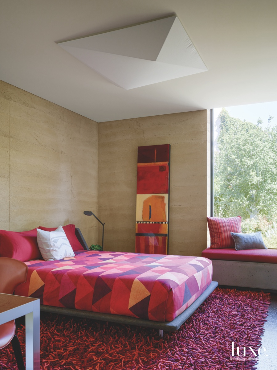 modern bedroom red accents
