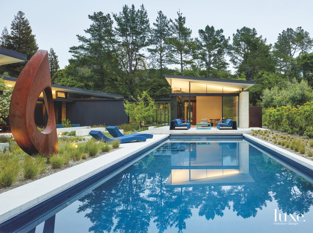 modern outdoor pool blue accents...