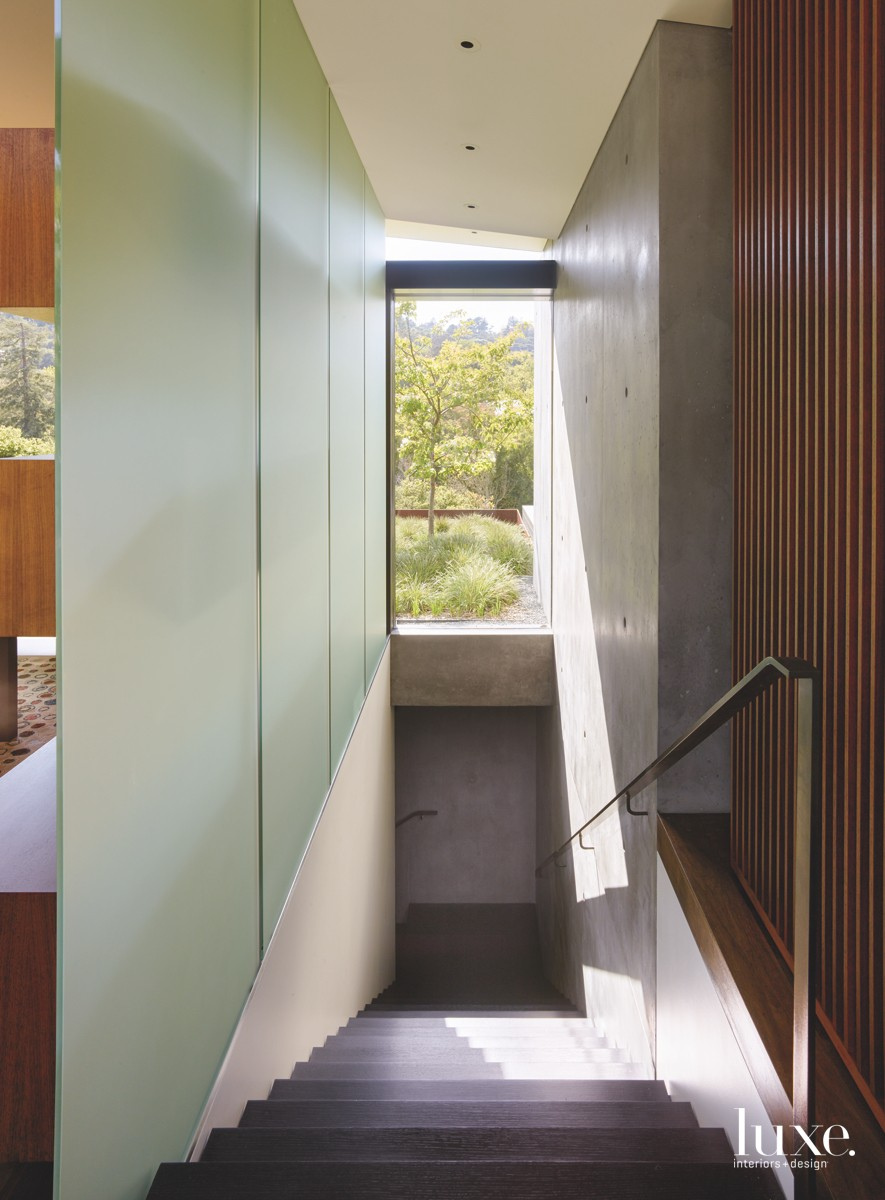 modern staircase concrete wall wood...