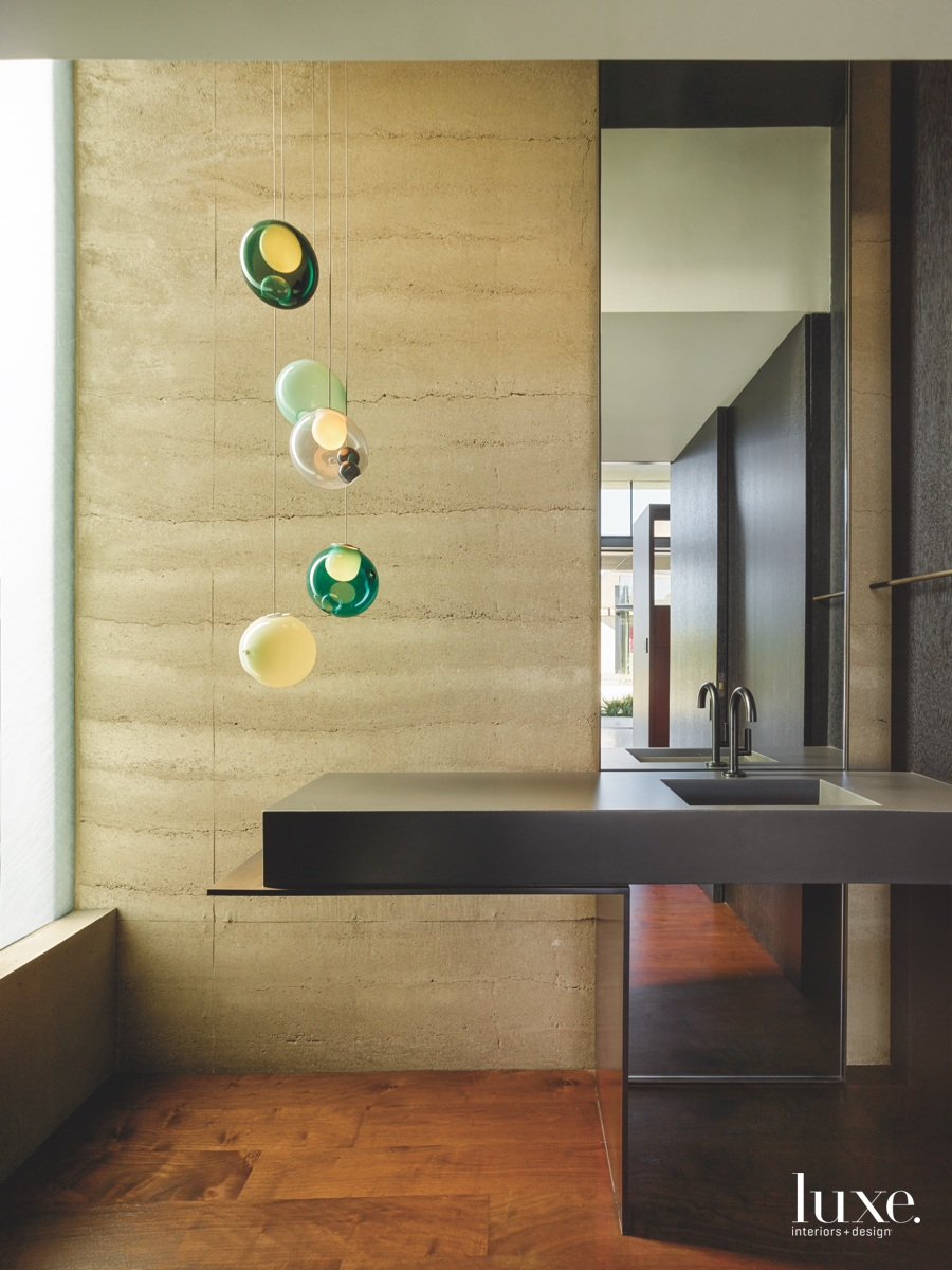 modern bathroom green pendants concrete...