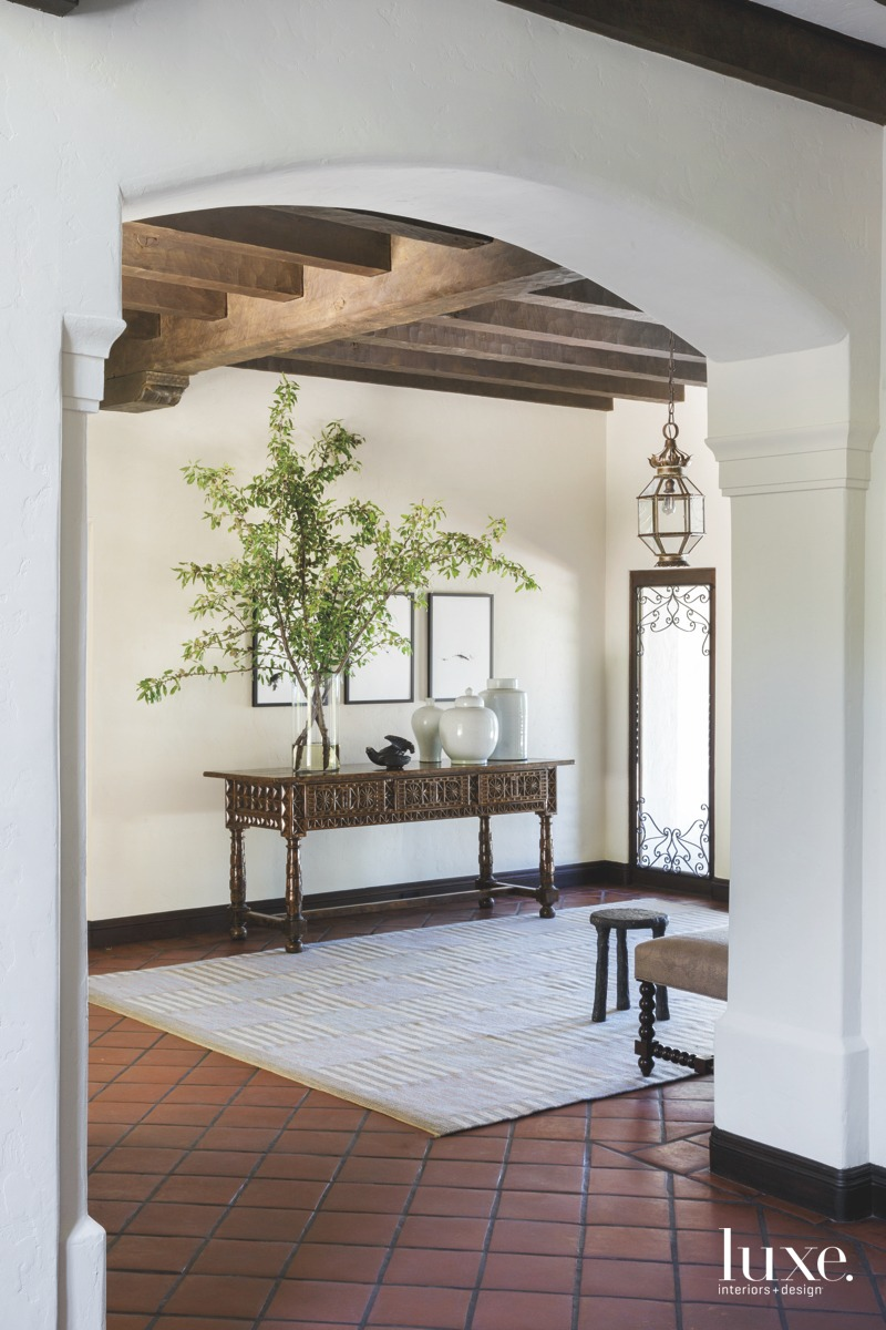 oastal entry foyer antique lantern