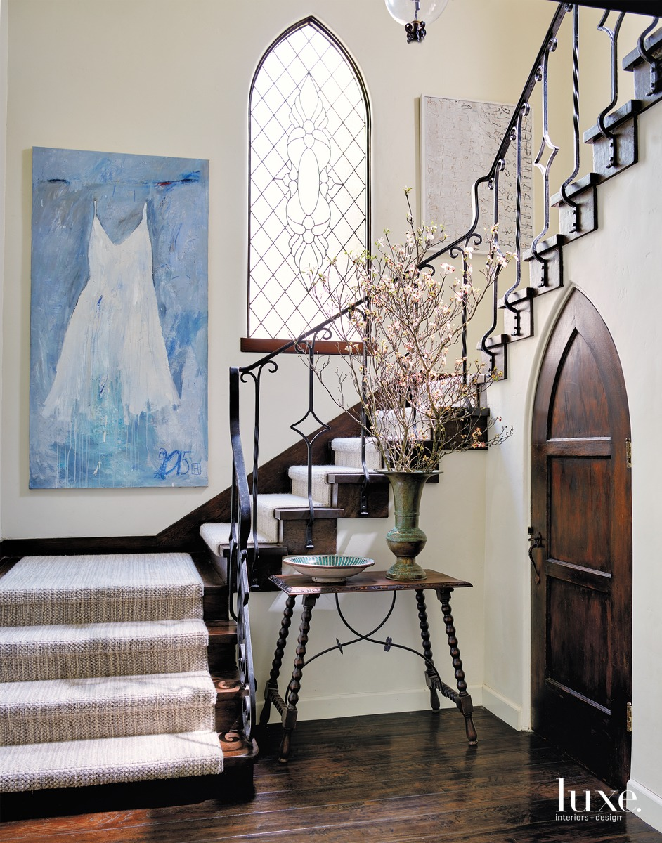 traditional staircase entryway antique table