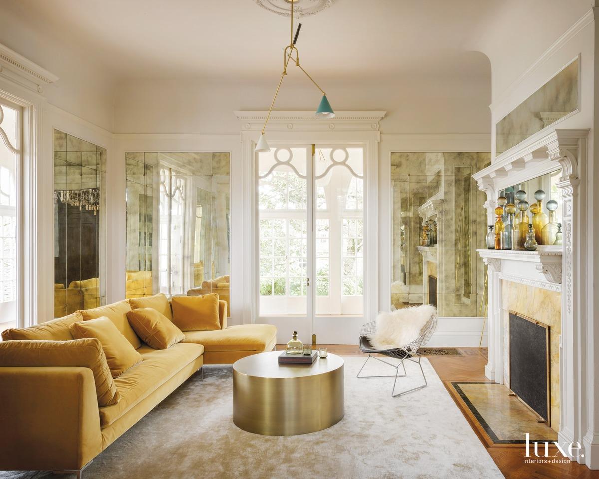 mid-century modern white living room...