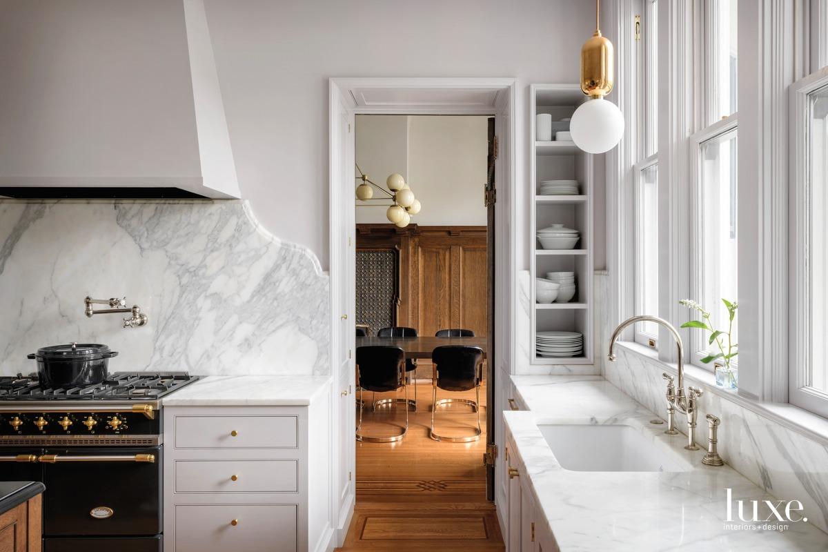 mid-century modern white kitchen marble...