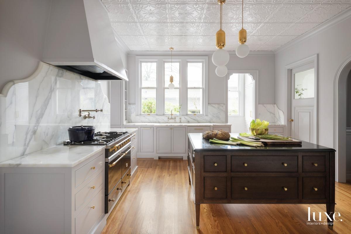 mid-century modern white kitchen cabinetry...