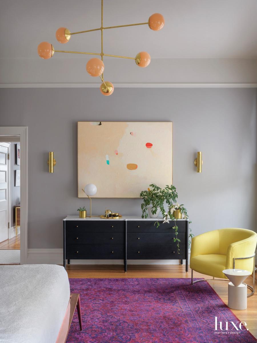 mid-century modern bedroom purple rug...