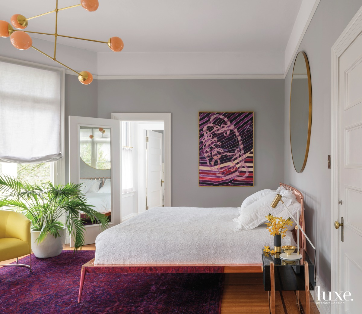 mid-century modern bedroom purple acents