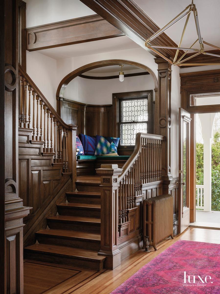 mid-century modern entry pink rug...