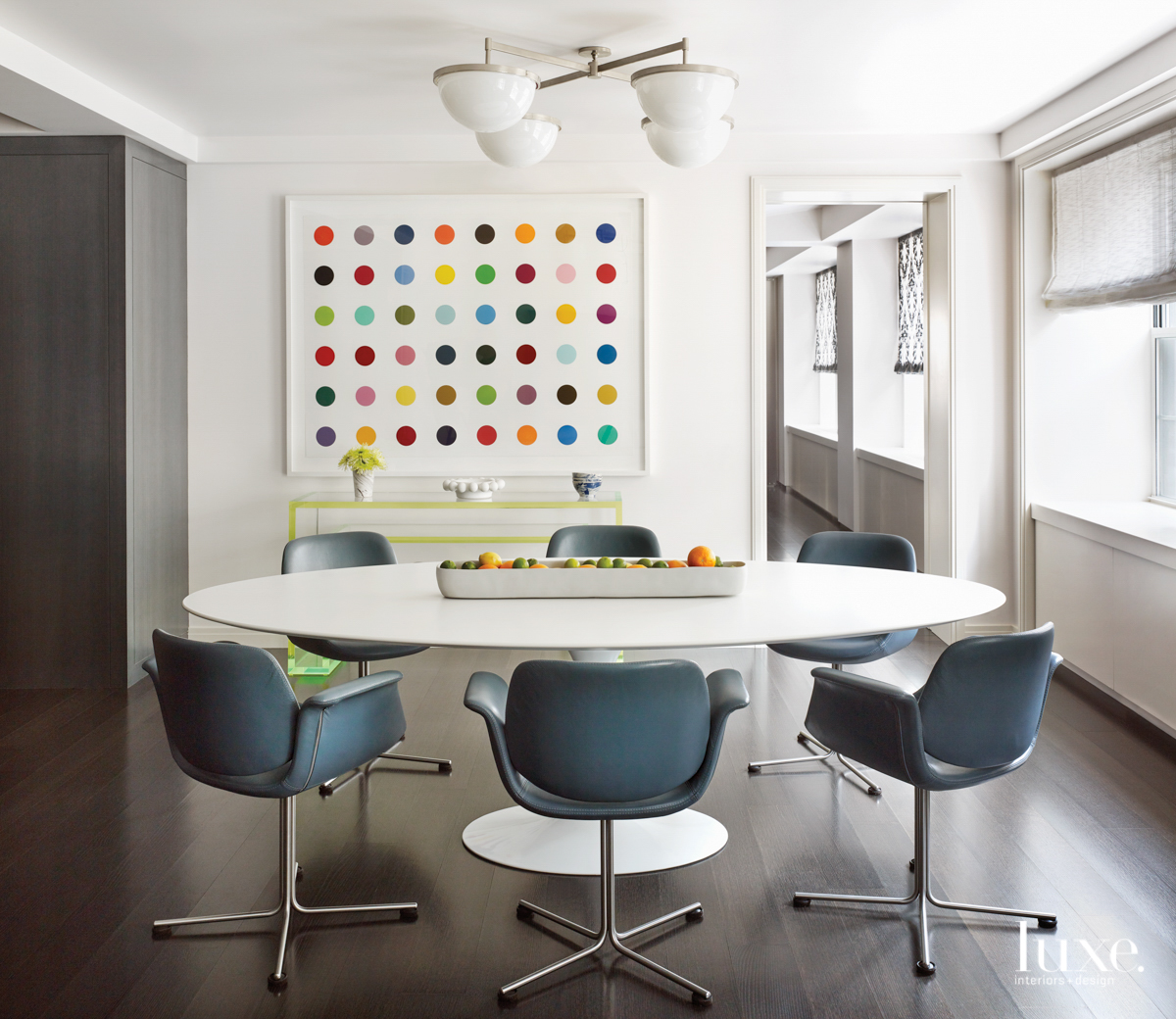 contemporary dining area white table...