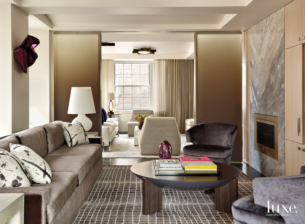 contemporary living room brown accents...