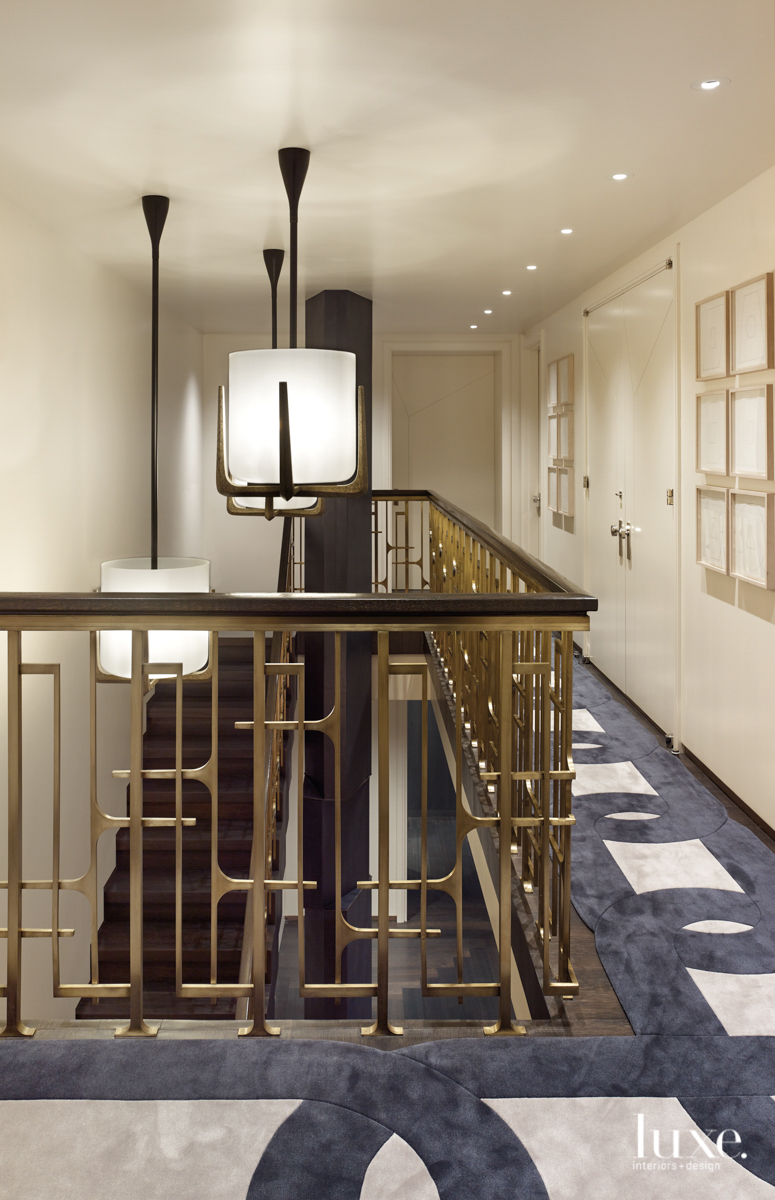 contemporary hallway and stairs gold...