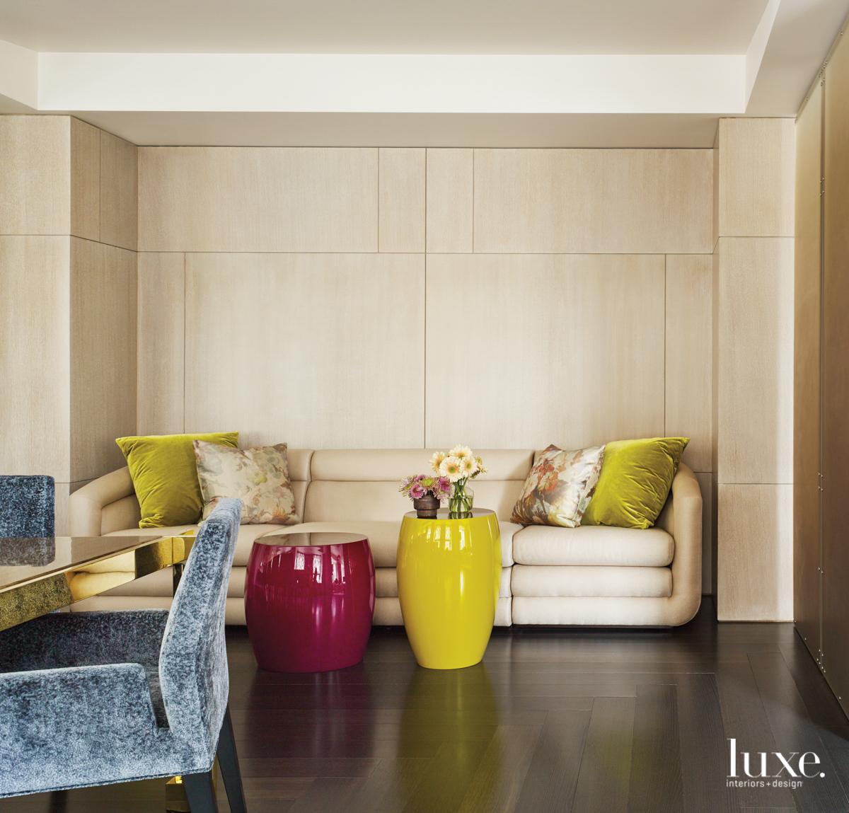 A Donghia sofa provides additional...
