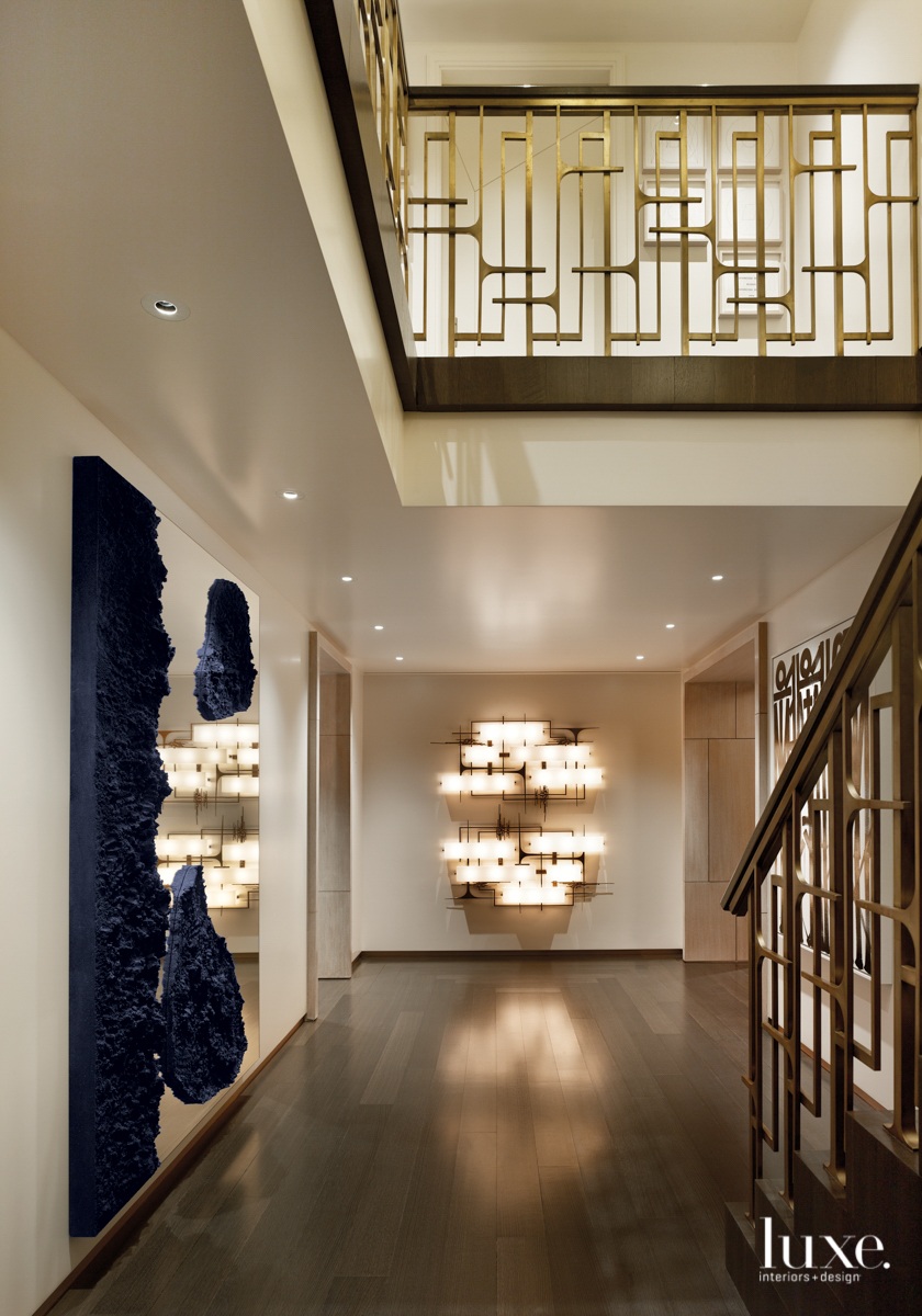 contemporary hallway brown and blue...