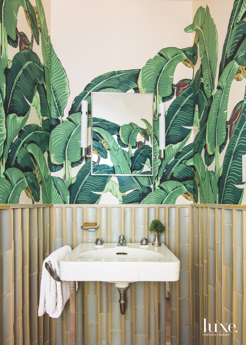 mid-century modern bathroom leaf wall...