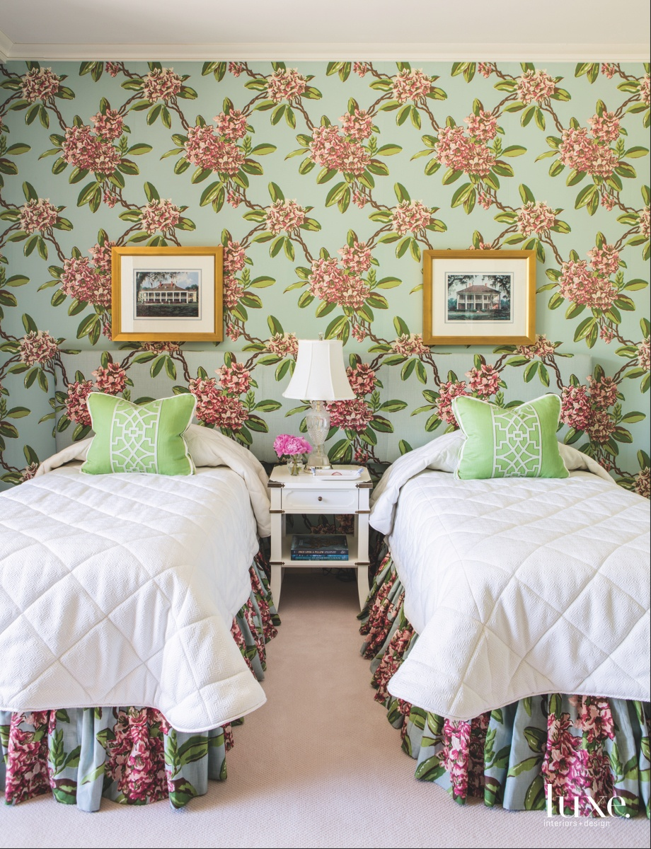 mid-century modern bedroom floral prints...