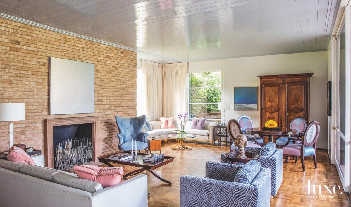mid-century modern living room zebra...