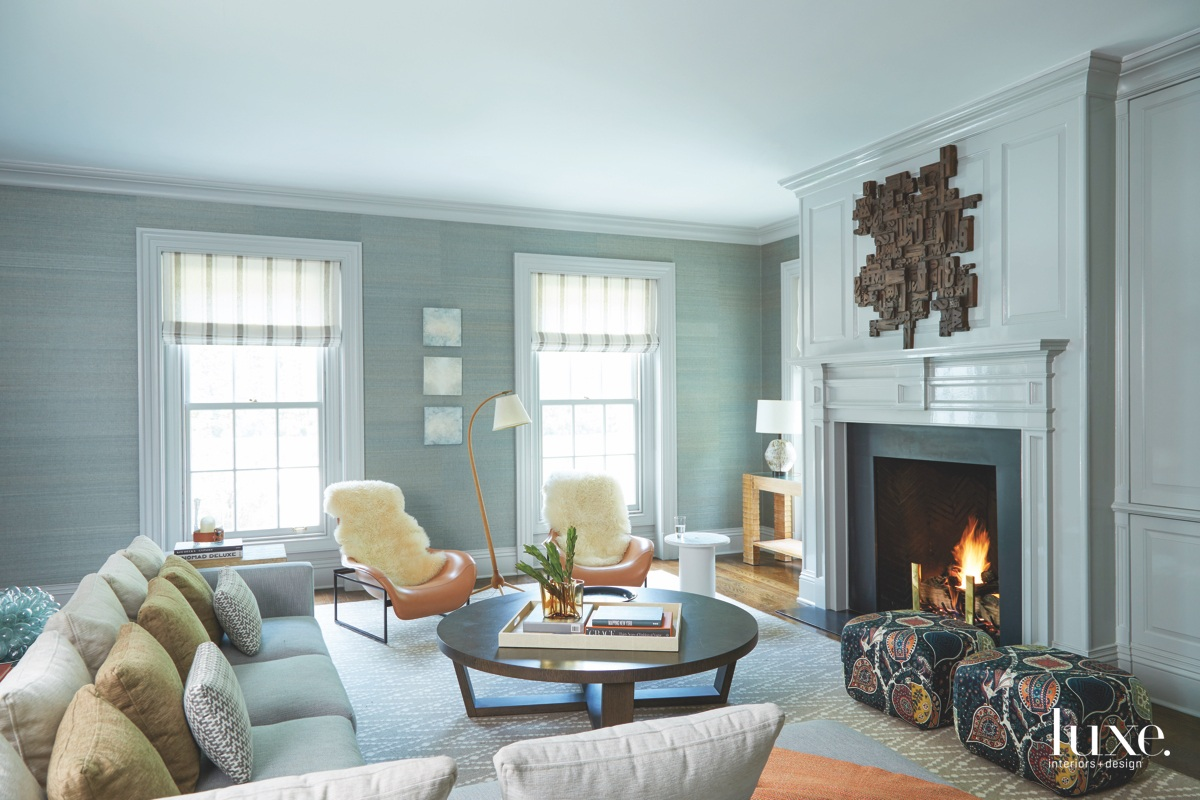 modern blue family room fireplace