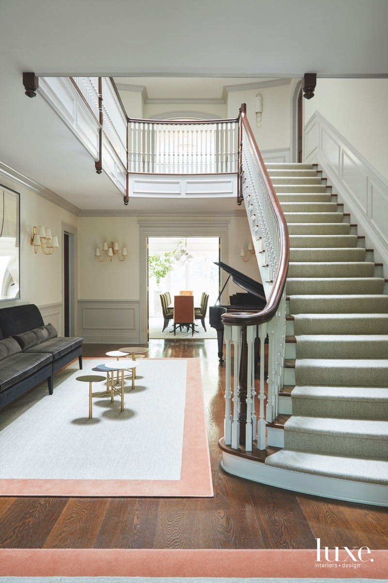 modern neutral foyer staircase coral...