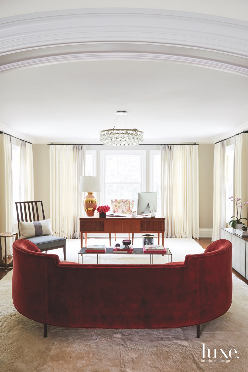 modern office red velvet sofa
