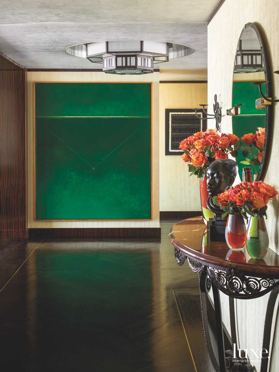eclectic entry hall emerald green...