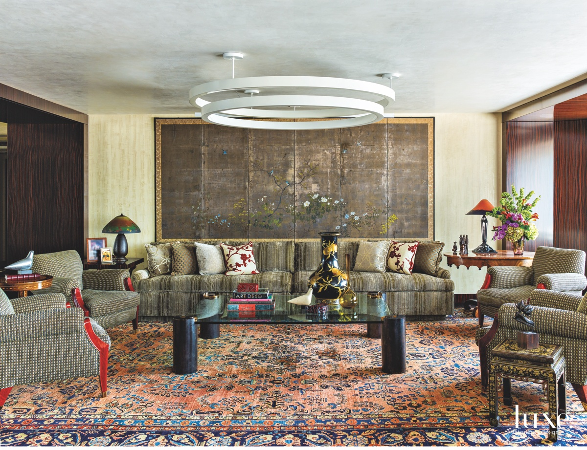 eclectic multicolor/multipattern living room yacht