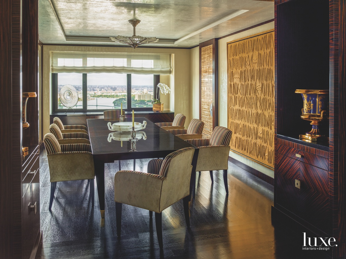 eclectic dining room gold wall-covering...