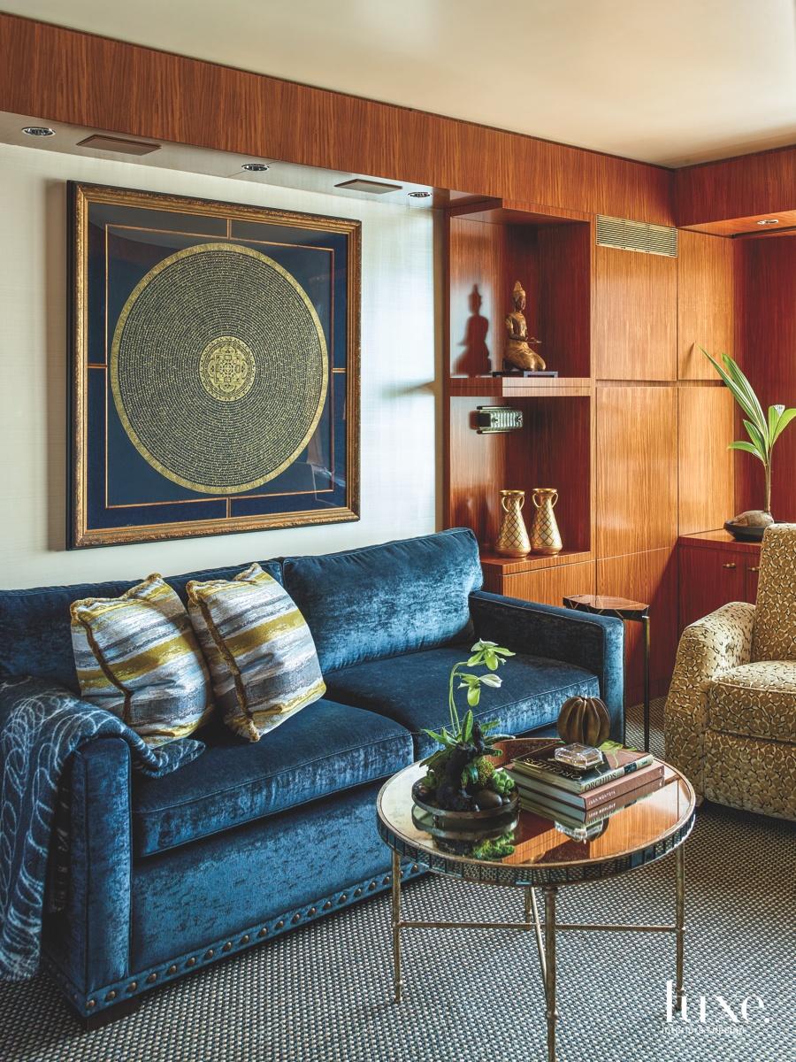eclectic den blue sofa striped...