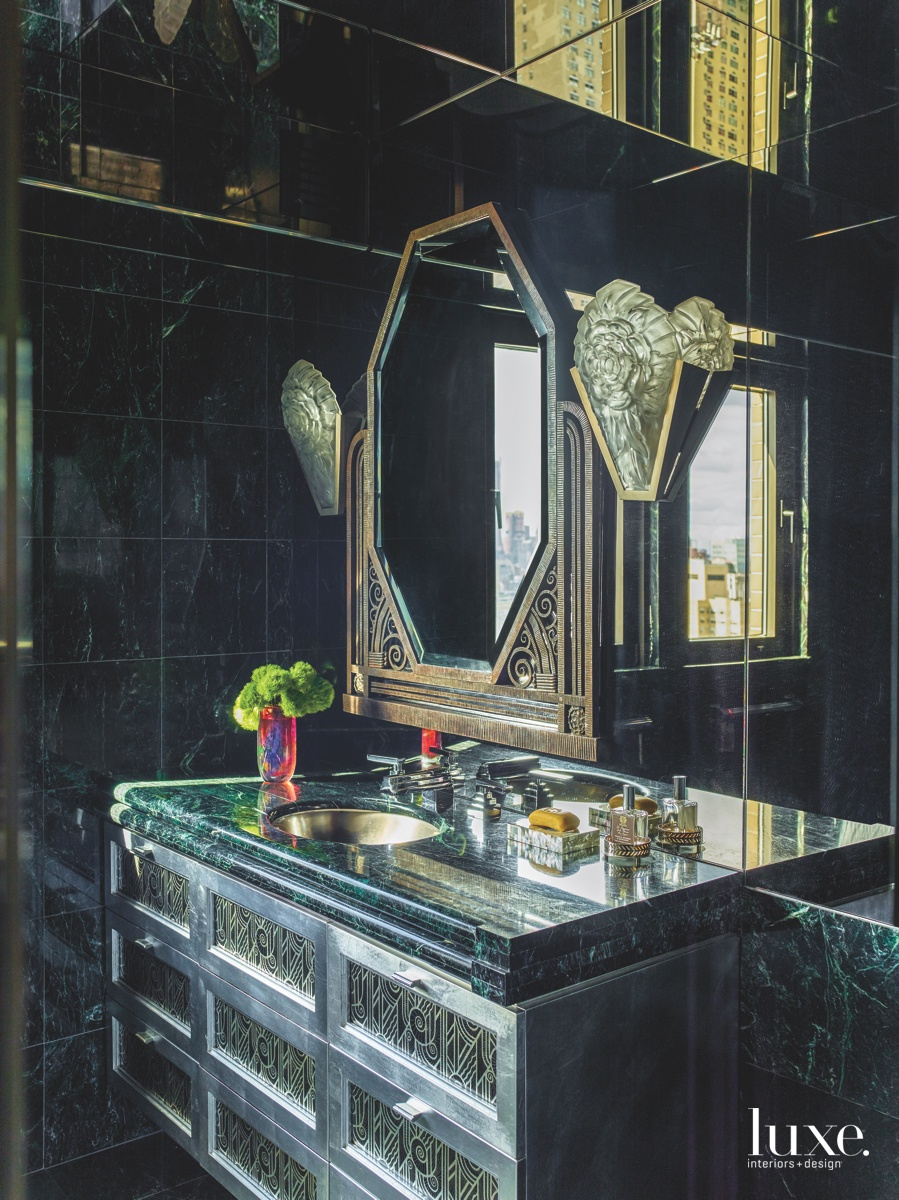 eclectic bathroom mirrored ceiling black...