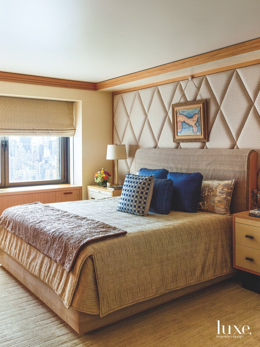 eclectic neutral bedroom window shades...