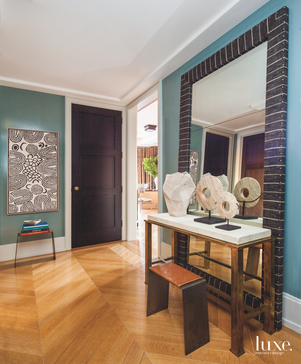 eclectic entry hall mirror blue...
