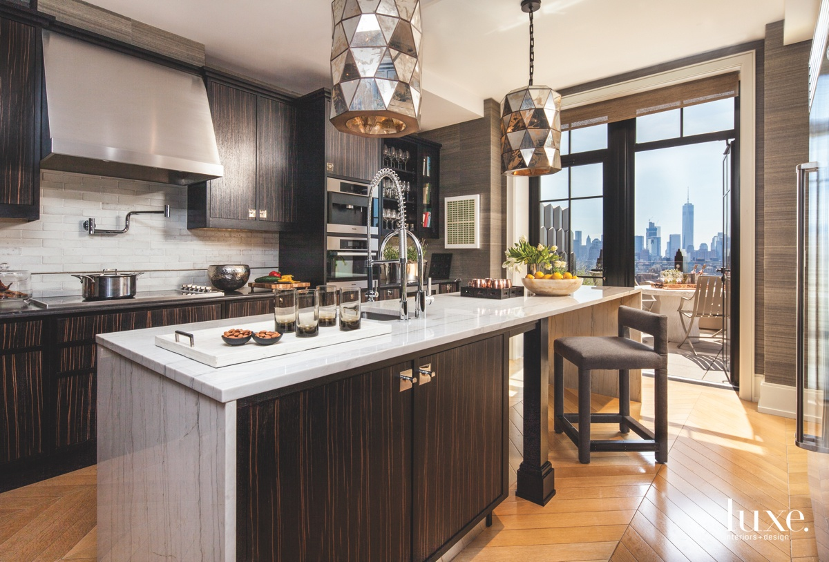 eclectic brown kitchen island faceted...