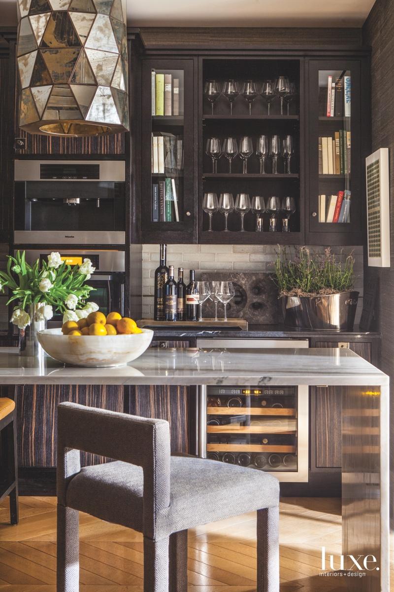 eclectic dark brown kitchen island...