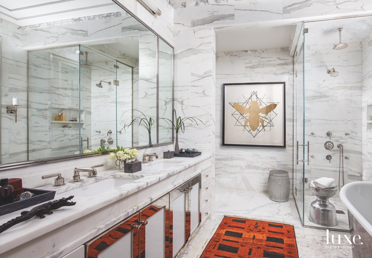 eclectic white marble bathroom red...